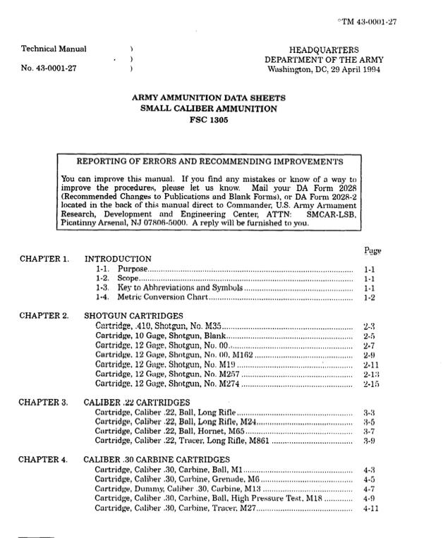 TM-43-0001-27 - Army Ammunition Data Sheets (1994)