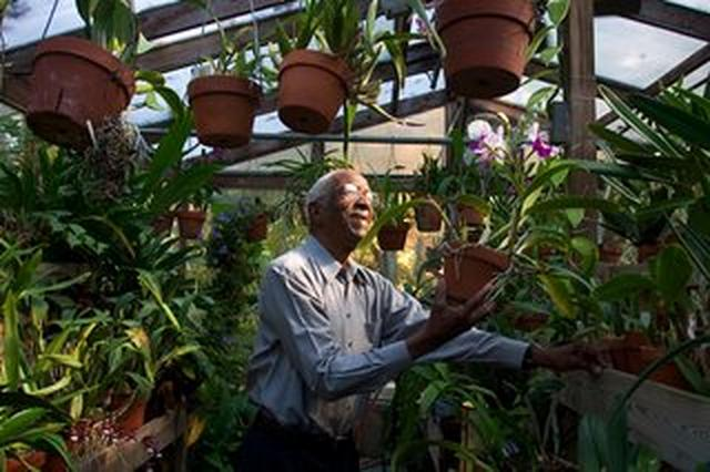 Dr. Franklin Inside His Green House