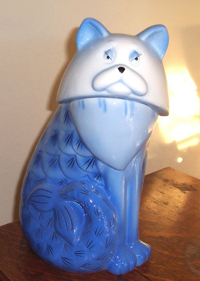 Mermaid Cat Cookie Jar Nib Discontinued Blue White Ebay
