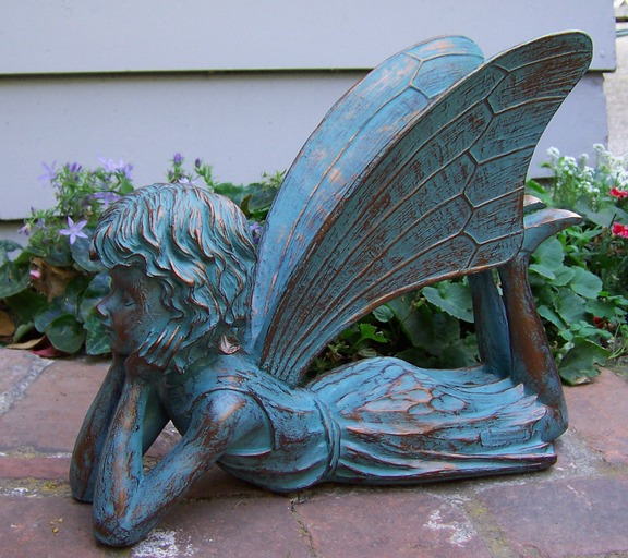 Large dreamer fairy garden sculpture outdoor indoor ebay - Large garden fairy statues ...