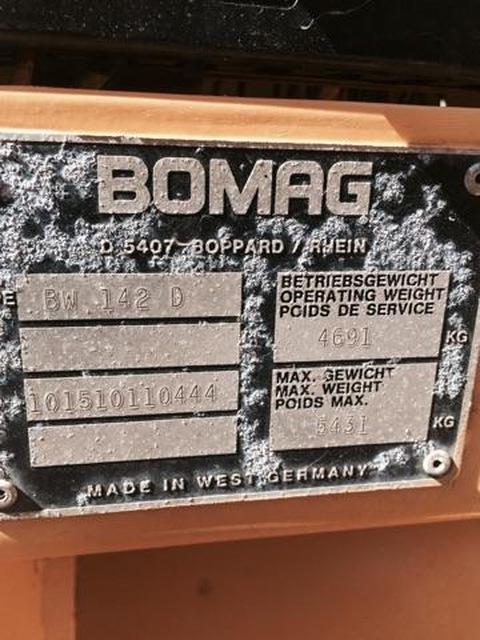 1994 Bomag 142 D-2 Single Vibratory 56'' Drum Roller