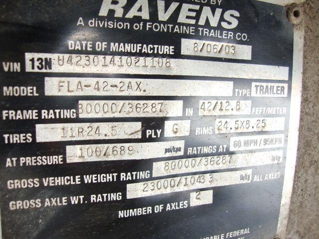 2004 Ravens 42ft Frameless 78yrd End Dump Trailer