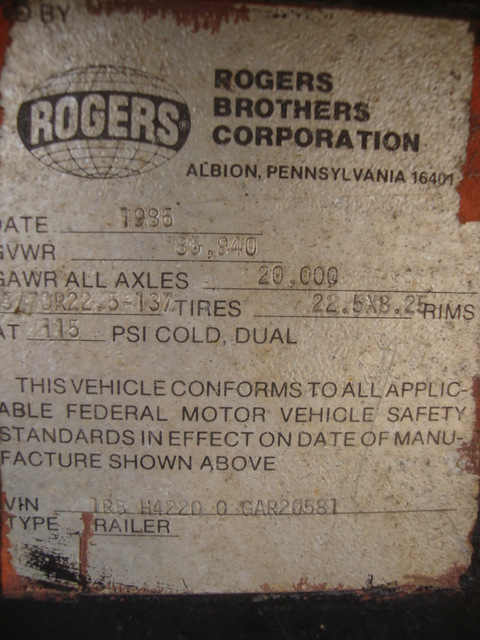 Rogers 35 Ton Lowboy