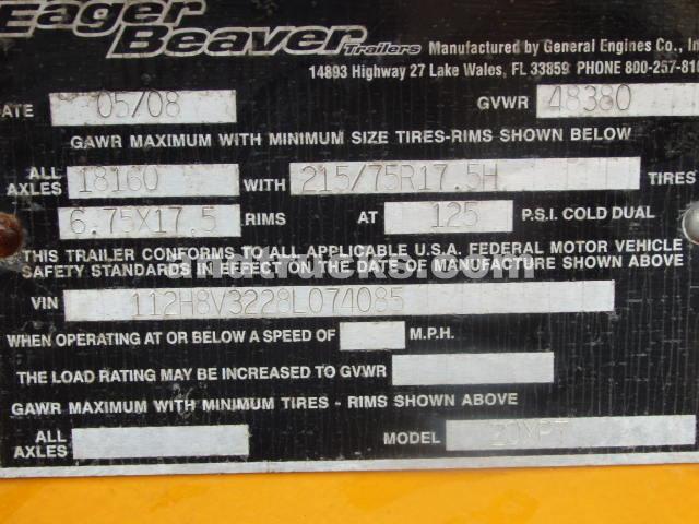 2008 Eager Beaver 20 ton tag a long trailer