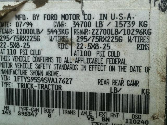 Ford L9000 Aero Max Single Axle