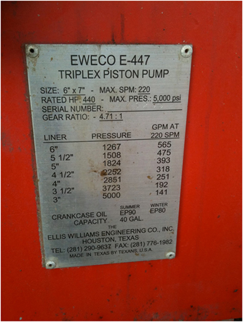 EWECO E-447 Triplex Continuous Duty Piston Well Service Pump
