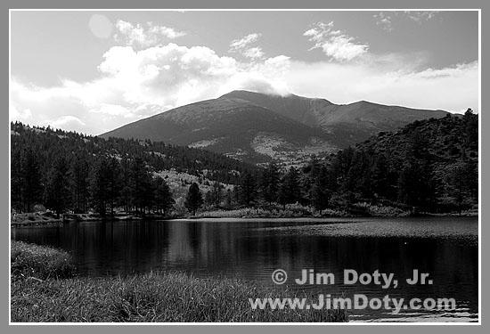 O'Haver Lake in black and white, Colorado