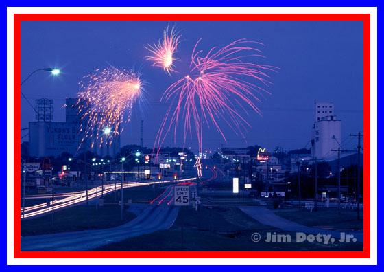 Fireworks over Yukon, Oklahoma