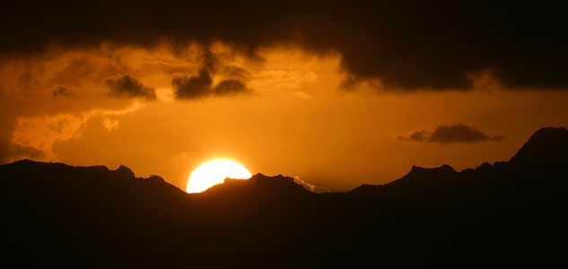 Sunset over Moorea, French Polynesia