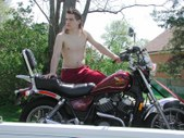 Jack and motorcycle