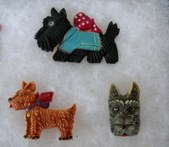 Post WWII Celluloid Scottie Dog Pins
