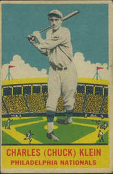 1933 Delong card #22 of Chuck Klein