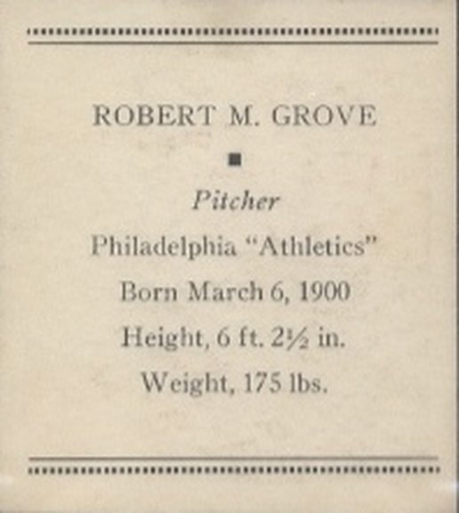 1933 Tattoo Orbit card of Lefty Grove