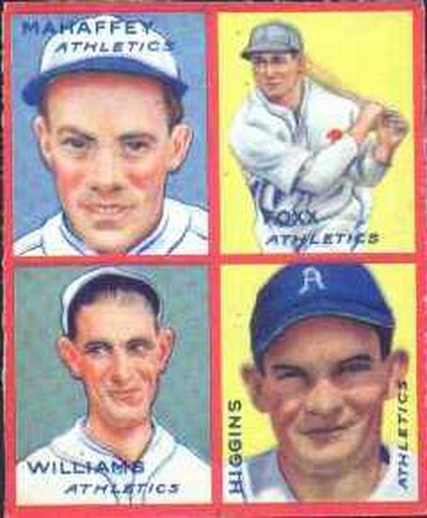 1935 Goudey card of Foxx, Higgins, Mahaffey and Williams