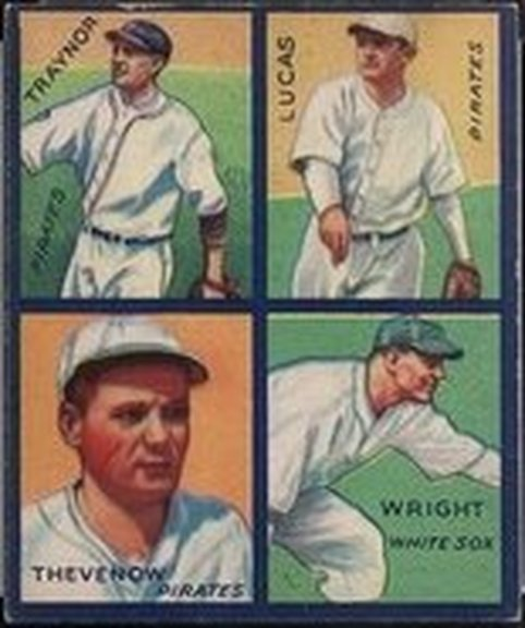 1935 Goudey card of Lucas, Thevenow, Traynor and Wright