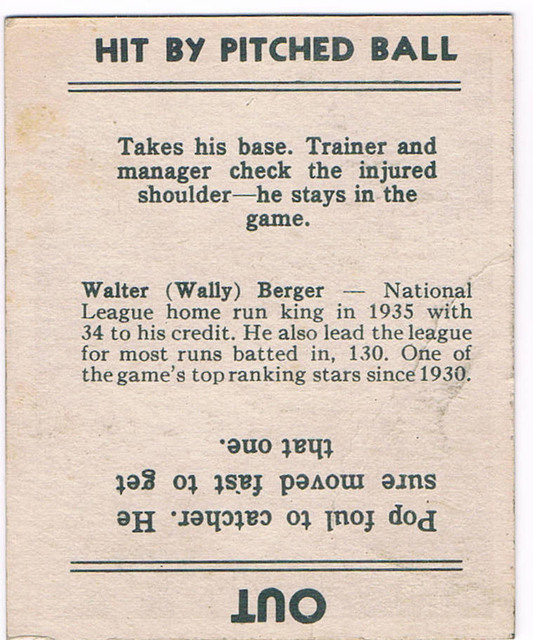 1936 Goudey card of Walter Berger