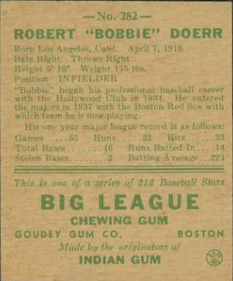 1938 Goudey card #282 of Bobby Doerr