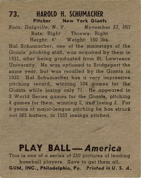 1939 Play Ball card #73 of Hal Schumacher