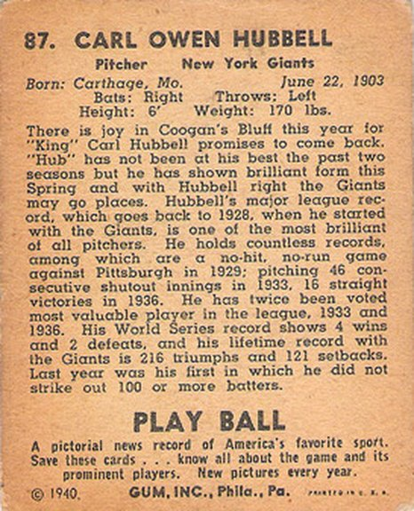 1940 Play Ball card #87 of Carl Hubbell