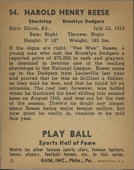 1941 Play Ball card #54 of Harold 'Pee Wee' Reese