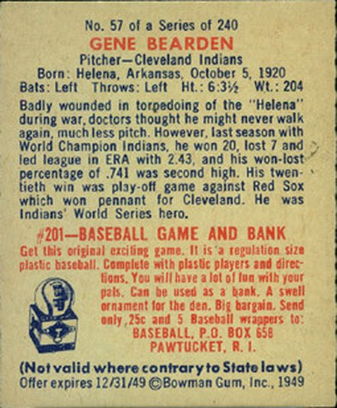 1949 Bowman card #57 of Gene Bearden