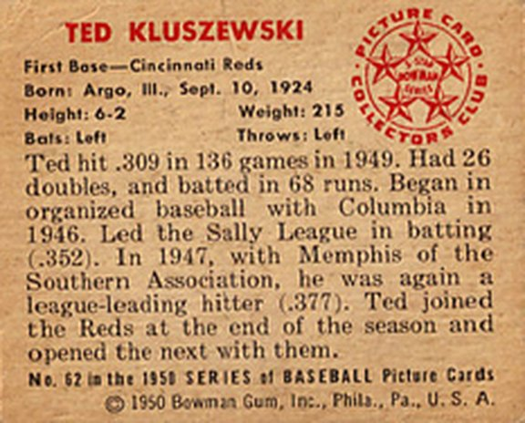 1950 Bowman card #62 of Ted Kluszewski