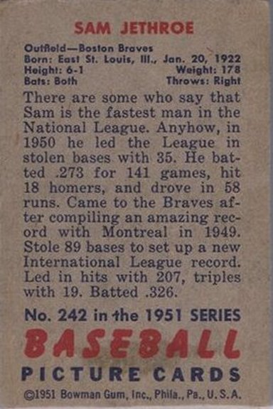 1951 Bowman card #242 of Sam Jethroe