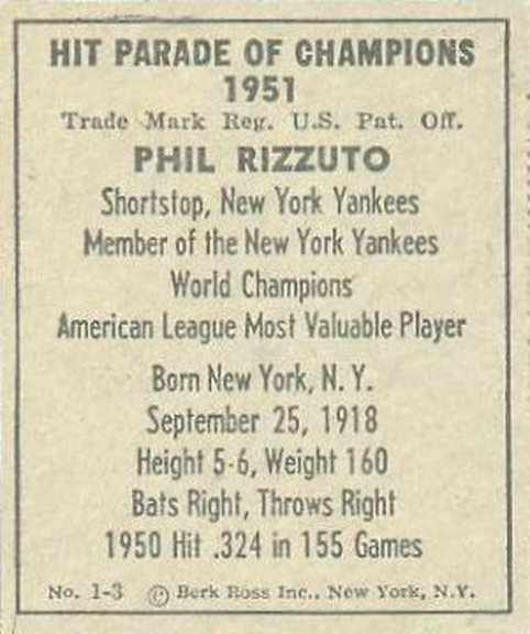 1951 Berk Ross #1-3 of Phil Rizzuto