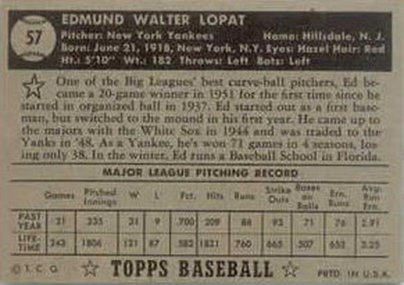 1952 Topps black card back