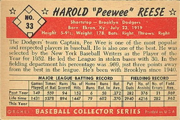 1953 Bowman color card #33 of Pee Wee Reese