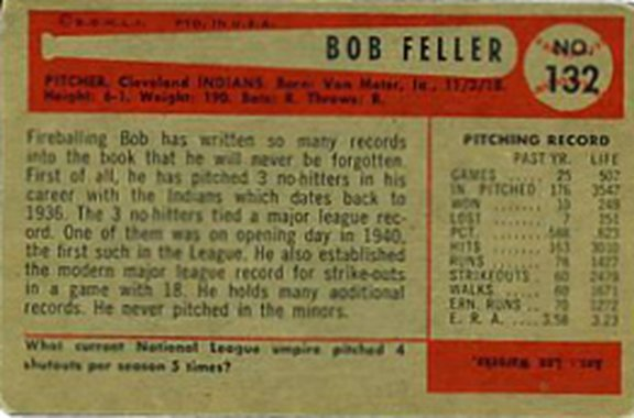 1954 Bowman card #132 of Bob Feller
