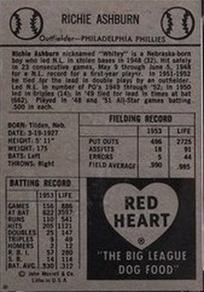 1954 Red Heart card back