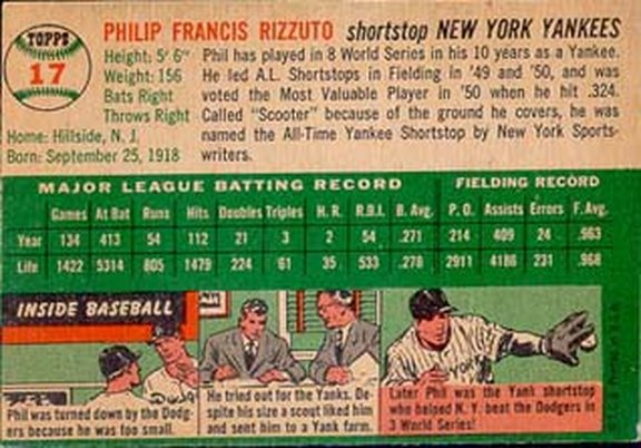 1954 Topps card #17 of Phil Rizzuto