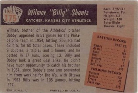 1955 Bowman card #175 of Wilmer Shantz