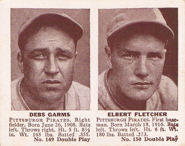 1941 Double Play card #149/150 of Debs Garms and Elbert Fletcher