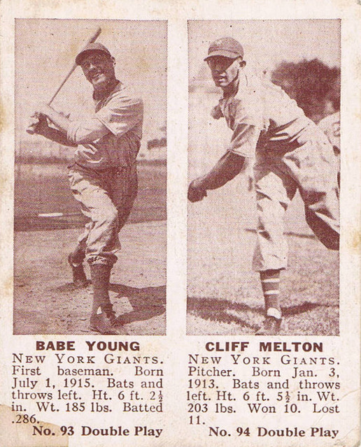 1941 Double Play card #93/94 of Babe Young and Cliff Melton