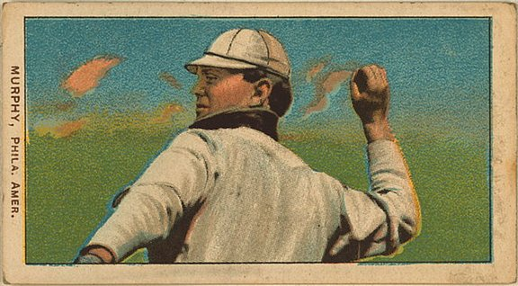 1909-11 T206 card of Danny Murphy (horizontal)
