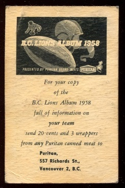 Back of 1958 Puritan Meats BC Lions football card