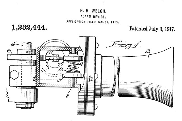 patent drawing of car alarm 1913