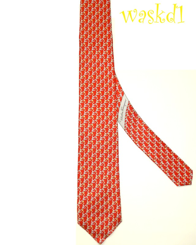 SALVATORE FERRAGAMO red CIRCUS MONKEYS playing BALL silk MENS tie NWT ...