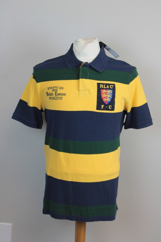 Details About Polo Ralph Lauren Rugby Shirt Mens Shield Patch Green Blue Yellow Striped