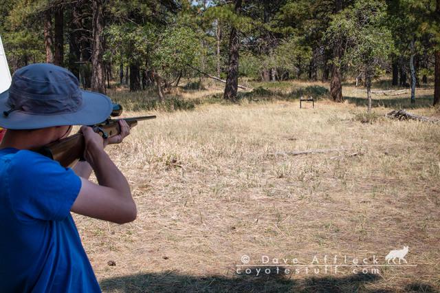 My son shooting my Win. 52 .22LR