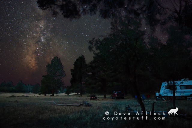 The next night and a different angle of our camp and the Milky Way