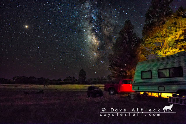 Night shot of our camp and the Milky Way