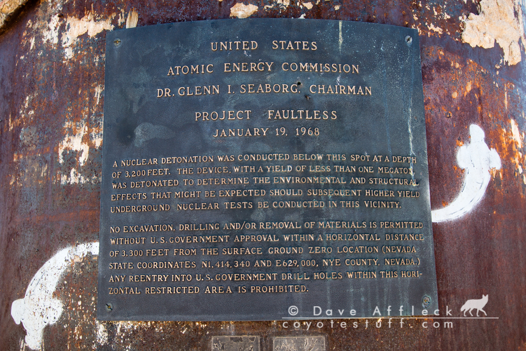 Plaque at Project Faultless