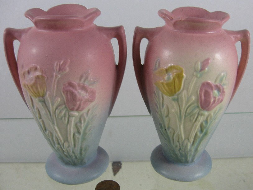 2 Vintage Art Pottery Vases Hull Poppy Flower 607 4 34 Ebay