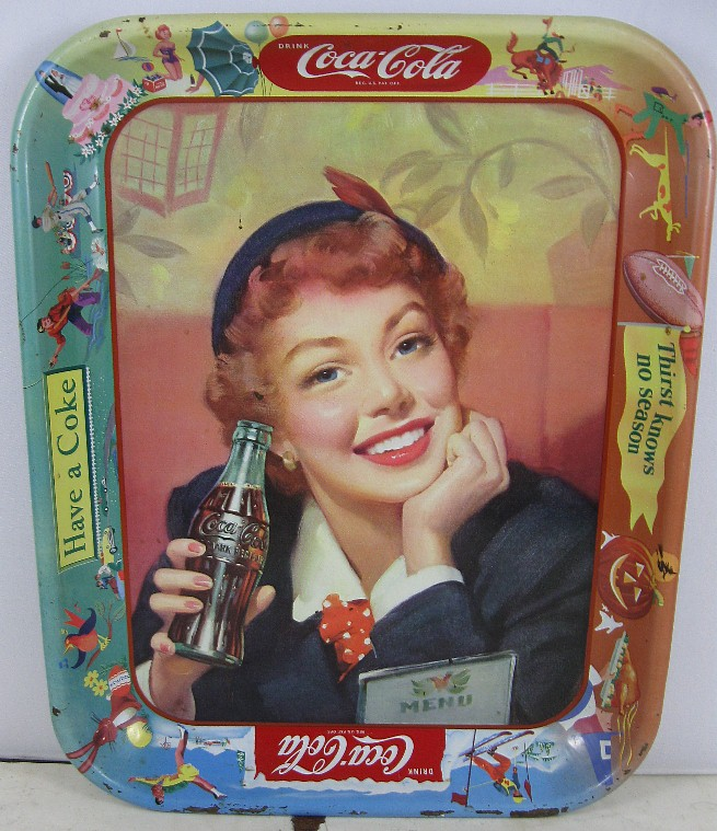 Details about Vintage 1950's Girl Coke Tray Coca Cola