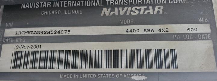 2002 International 4400 Single Axle Dump Truck