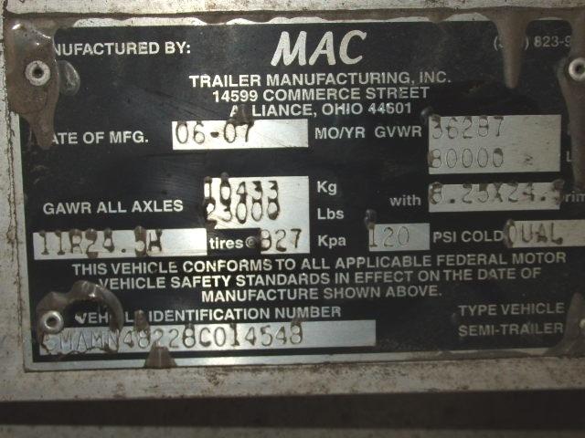 2007 Mac 115 yard Walking Floor Trailer 48'x102''
