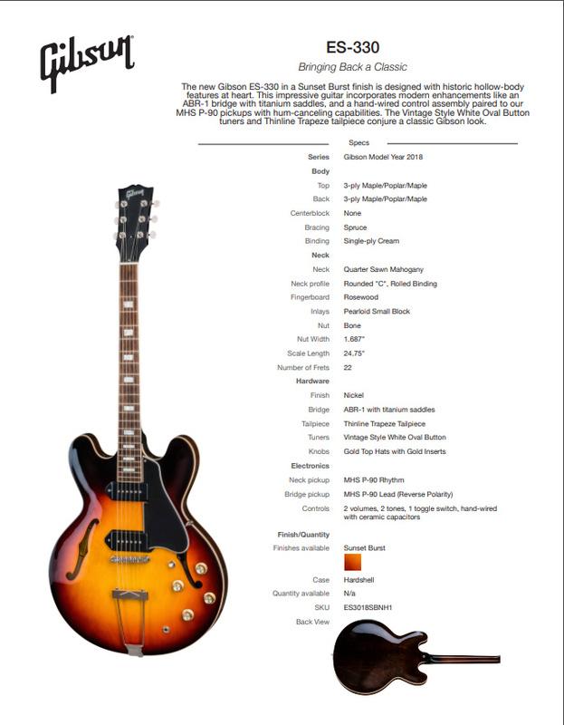 2018 Gibson Memphis ES-330 Sunset Burst Block Inlays P90's